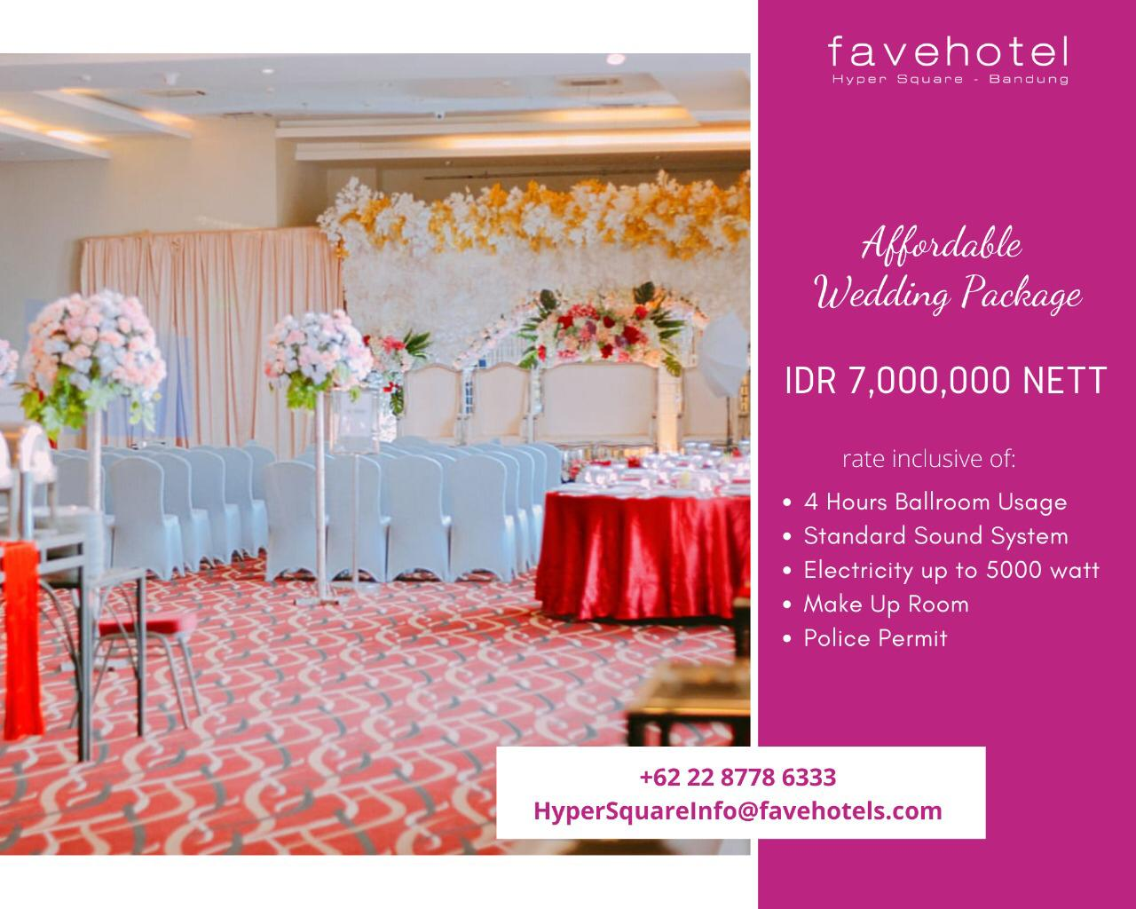 Affordable Wedding Ballroom Package At Favehotel Hyper Square What S New Bandung